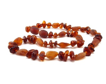 Baltic Amber Necklace Teething Baby Toddler Child Mixed Polished and Unpolished Cognac Beads
