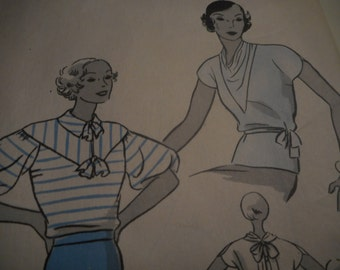 RARE 1930's Hollywood 658 Blouse Sewing Pattern, Size 16 Bust 34