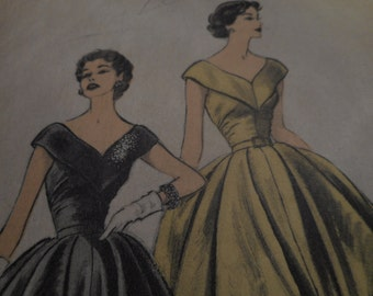 Vintage 1950's Advance 6485 Dress Sewing Pattern, Size 14 Bust 32 or Size 16 Bust 34