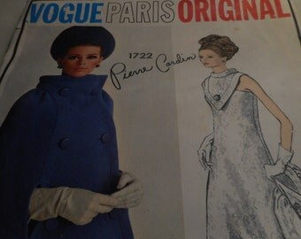 Vintage 1960's Vogue 1722 Paris Original Pierre Cardin Dress and Cape Sewing Pattern, Size 16, Bust 36