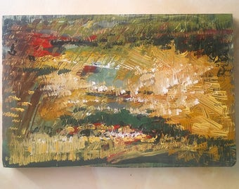 Small Abstract Painting Summer Fields, Acrylics on Wood, Original Art