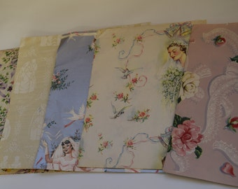 Vintage Wedding Gift Wrap. Vintage Paper emphemera. Vintage wrapping paper. Vintage Scrapbooking. Wedding day