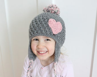 Gray Earflap Hat with Pink Heart, Little girl Earflap Hat, Baby Earflap hat, Toddler crochet hat