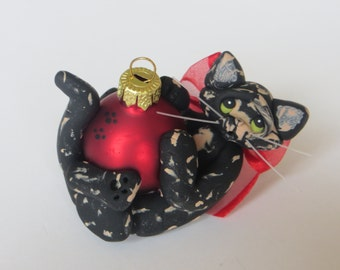 Polymer Clay Tortoiseshell  Cat Christmas Ornament