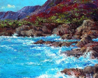 Wind, Water and Rocks. Hawaii. Acrylic on Canvas, 30 x 40.
