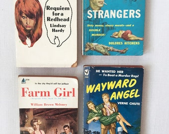 Vintage Set of 4 Kitschy Romantic Novels - pulp fiction - rockabilly instant collection 1950s kitsch retro  pin up  true crime mystery