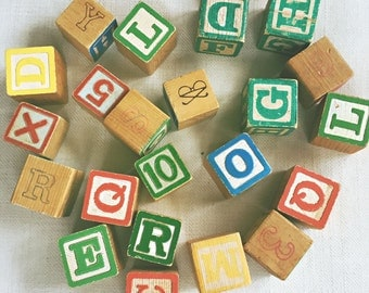 Vintage Lot of Alphabet Blocks - instant collection - baby gift - shower gift - wooden letters - typography - baby room - retro - words