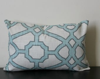 Decorative Pillow Cover, Aqua and White Trellis Decorative Pillow Cover, Throw Pillow Cover, Accent Pillow Cover, Lumbar Pillow,18x18, 20x20