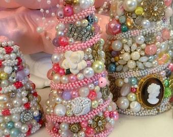 """Chic Vintage Jewelry Tree OOAK 6"""" Pinks, Purple, Cream Rhinestones...OOAK"""