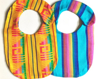 2 Pack Mexican Cambaya Bibs, Serape Baby Bibs- Yellow and Turquoise - Mexican Blanket Bib