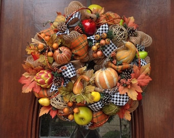 Whimsical Burlap and Mesh Fall Wreath