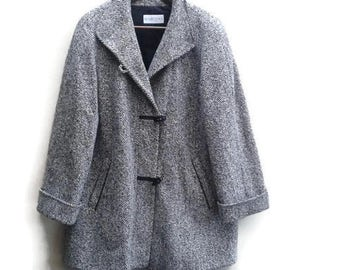 SALE Tweed Coat Leather trim Black & White Vintage 80s M L