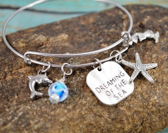 Beach Themed Bangle Bracelet ~ Mermaid ~ Dreaming of the Sea ~ Dolphin ~ Starfish ~ Bead