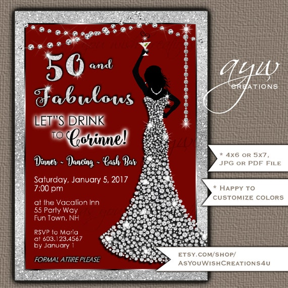 50th Birthday Party Invitations Woman Bling Dress Fifty Fabulous