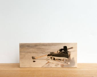 Hockey Photography, Photo Art Block, Image Transfer on Wood, 'Backyard Skate' by Patrick Lajoie, pond shinny, ice hockey, skates, winter