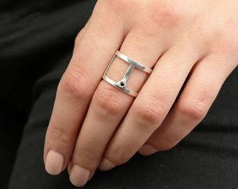 Geometric Ring, Wide Band Ring, Sterling Silver Ring, Silver Wide Band, Black Crystal Ring, Modern Ring, Fashion Ring, Silver Ring For Women