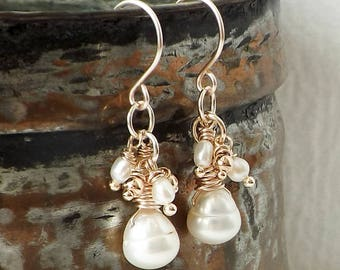 Pearl Earrings, Rose Gold Earrings, Sundance Style, Bride Earrings, Feminine Wedding Jewelry, Bridesmaid Gift, June Birthstone, Wire Wrapped