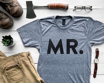Mr. T-shirt • Husband Shirt • Modern Typographic Design for Mr., Groom or Hubby • Super Soft Gray Tee • Mr. Mrs. Design •  FREE SHIPPING