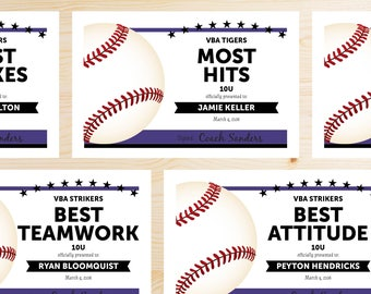 Editable Baseball Award Certificates - INSTANT DOWNLOAD PRINTABLE - Purple Violet and Black