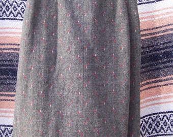 Vintage Wool Tweed Skirt: XS