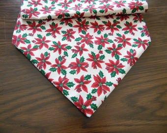 Christmas Pointsettias Table Runner - Christmas Scarf,  Home Decor
