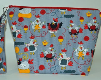 Knitting Chickens Hens project bag