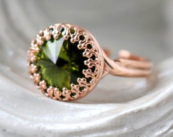 Olive | Princess Crown Ring | Swarovski Crystal Ring | Rose Gold Ring | Victorian Crown Ring | Gift For Her | Bridal Jewelry | Olive Green