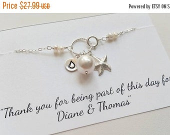 ON-SALE Personalized Sterling Silver Charm Necklace, STARFISH Charm, Bridesmaid Gifts,Flower Girl Gifts, Beach Wedding Theme, Summer Necklac