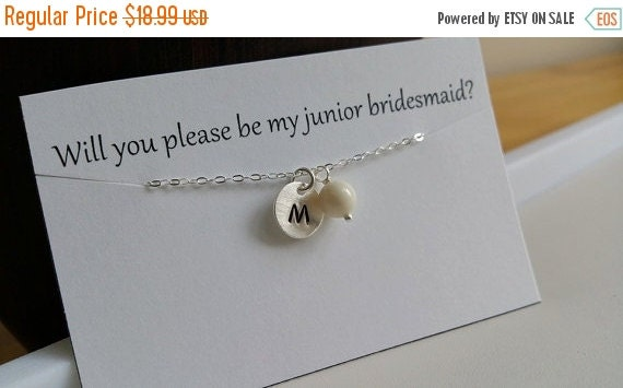 ON-SALE CHILD Size - Custom Initial and Pearl Sterling Silver Necklace, Bridesmaids Gifts, Flower Girl, Birthday Gift  - Weekly Deals