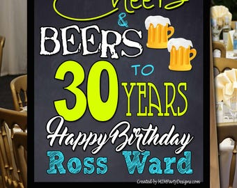 Cheers & Beers 30th, 40th, 50th Birthday  PERSONALIZE Poster. Backdrop - Printable sign - DIY Print , dessert table,