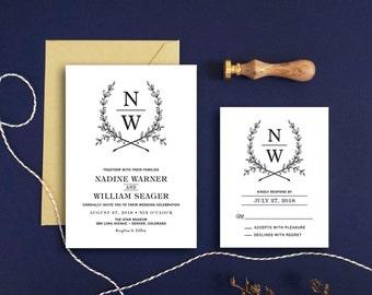 Monogram Wedding Invitation & RSVP Card - Kraft Paper Wedding Invitation - Woodland Wedding - Wedding Invitation Printable