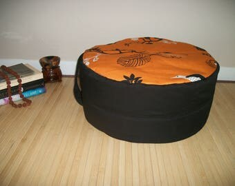 "Large Zafu. Round Floor Pillow. Ottoman. UNFILLED COVER Only. Black Twill blend with Orange Bird Print. 17"" dia. x 8"". H. Handmade, USA"