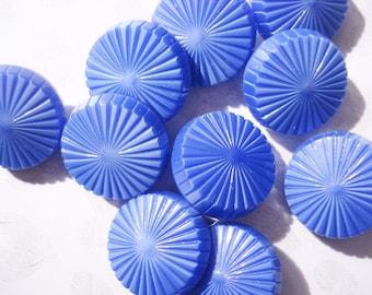 Blue Czech Buttons - Vintage Czech Glass Buttons - Fancy Blue Glass Buttons - 10 Vintage Blue Starburst Glass Buttons - Thick Glass Buttons