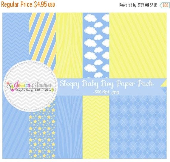 80% OFF - INSTANT DOWNLOAD,  Sleepy boy digital paper - 8.5 x 11- printable blue background - clouds - stripes - zebra - card making - scrap