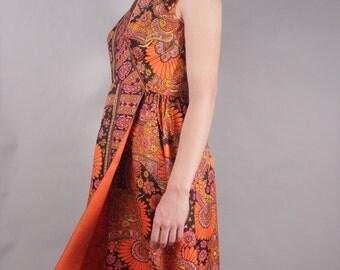 60s Orange Black Pink Goddess Dress w Floral Wallpaper Print Design
