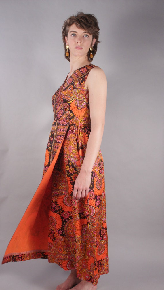 60s Orange Black Pink Goddess Dress w Floral Wallpaper Print Design