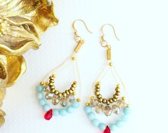 Chandelier earrings. Handmade jewelry. Turquoise, red Swarovski crystal and gold earrings. Drop earrings. Sugarplum Gallery.