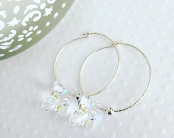 Hoop earrings. Handmade jewelry. Swarovski clear crystal sterling silver hoop earrings. Drop earrings. Classic.