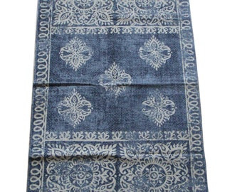 Hand Printed Mat - Gorgeous Fair Trade Hand Printed Mat or Rug - 100% cotton - 135cm x 75cm