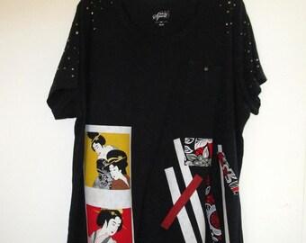Artsy Upcycled Black Knit Shirt 2X 3X