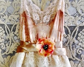 tan ivory & cream lace and tulle layered boho wedding dress by mermaid miss Kristin