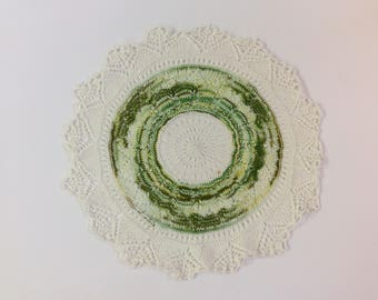 Crocheted Doilie In Greens and White