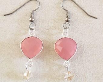 Rose Chalcedony Heart Shaped Bezel Earrings with Swarovski Crystal Dangle.