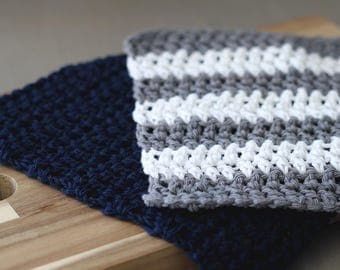 Gray Stripe and Navy Dish Cloths, Modern Farmhouse Style Kitchen Accessories. Crochet Dish Clothes. Housewarming gift.