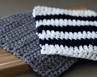 Navy Stripe and Gray Dish Cloths, Modern Farmhouse Dishcloth. Crochet Dish Clothes. New House gift, Gift for Newlyweds.