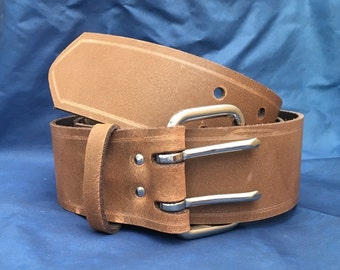 Milwaukee Chestnut Brown Distressed (Worn Look) Leather Belt 2 Prongs 2 Inch Wide Hand Made 100% Real Leather Double Prong