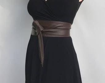 Dark Brown Leather Obi Belt, Wrap Wide Fashion Belt, Women Belts, Stylish Belts