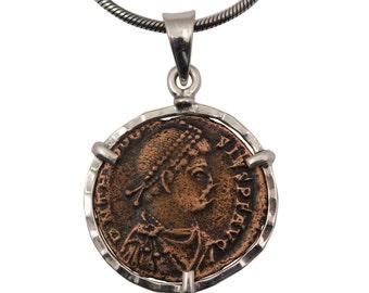 Silver coin necklace, roman coin pendant, coin statement necklace, mens coin necklace, ancient coin necklace