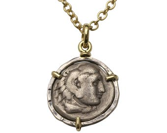Ancient coin necklace, silver coin necklace, pendant for men & women, Greek coin necklace,coin pendant necklace,women's and men's gold chain