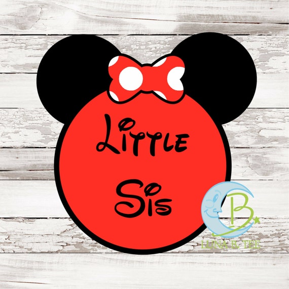 INSTANT DOWNLOAD Disney Little Sis Sister Printable DIY Iron On to Tee T-Shirt Transfer - Digital File